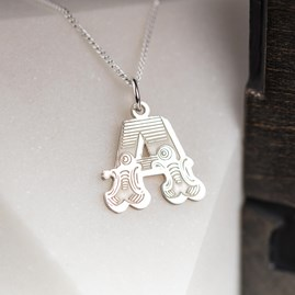 Solid Silver 'Circus' Letter Charm Necklace