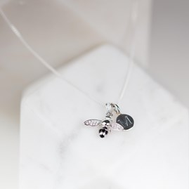 Personalised Black Sparkle Bee Necklace
