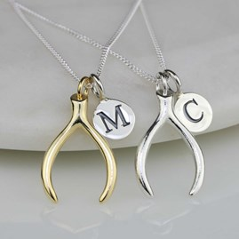 Personalised Solid Silver Lucky Wishbone Necklace