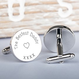 Bestest Daddy Silver Cufflinks