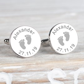 Personalised New Daddy 'Footprint' Cufflinks