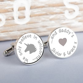 Personalised 'Unicorns And Daddy's' Silver Cufflinks