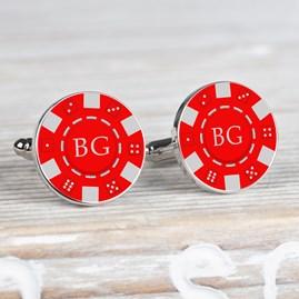 Personalised Silver Poker Chip Cufflinks