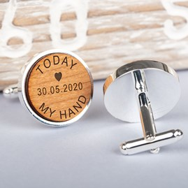Personalised 'Today My Hand' Cherry Wood Cufflinks