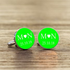 Personalised Initial And Date Cufflinks