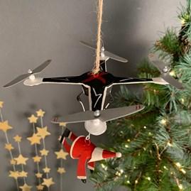 Santa And Drone Christmas Decoration