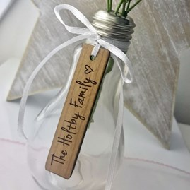 Personalised Tag Light Bulb Glass Vase