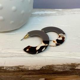 Two Tone Resin Hoop Earrings