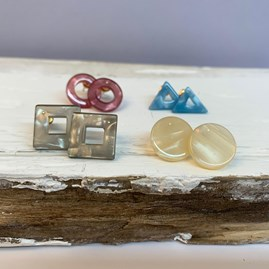 Geometric Resin Stud Earrings Set Of 4