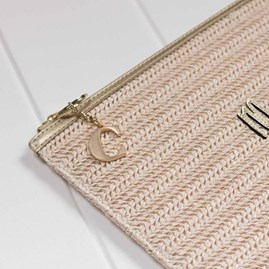 Katie Loxton Personalised Natural Woven Straw Beach Bag