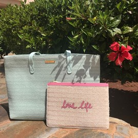 Katie Loxton Personalised Pale Mint Woven Straw Beach Bag
