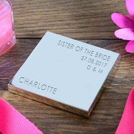 Personalised Silver Compact Mirror For Weddings