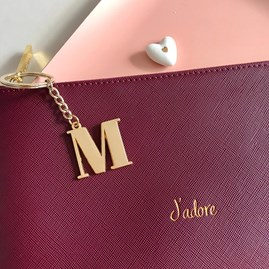 Katie Loxton Personalised 'J'adore' Plum Pouch