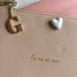 Katie Loxton Personalised 'La Vie En Rose' Hint Of Pink Pouch