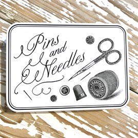 'Pins And Needles' Tin Filled With Chocolate Honey Crunch