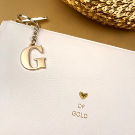 Katie Loxton Personalised 'Heart Of Gold' Perfect Pouch In White