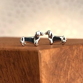 Solid Silver Origami Dachshund Earrings