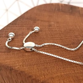 Silver Slider Bracelet With Rose Gold Heart Charm