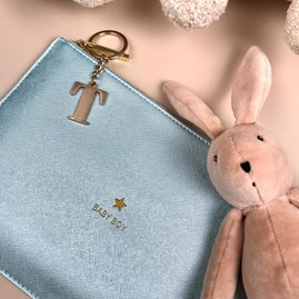 Katie Loxton Personalised 'Baby Boy' Metallic Blue Perfect Pouch