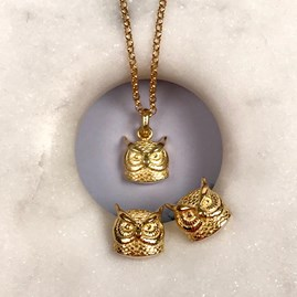 Personalised 18ct Gold Owl Necklace