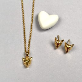 Personalised 18ct Gold Fox Necklace