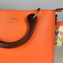 Tote Bag With Wooden Handles In Orange