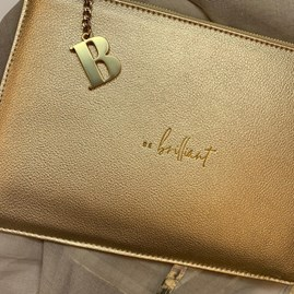 Katie Loxton Personalised 'Be Brilliant' Perfect Pouch In Metallic Gold