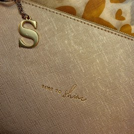 Katie Loxton Personalised 'Time To Shine' Perfect Pouch In Metallic Gold