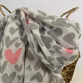 Light Grey Scarf With Hearts