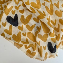 Mustard Scarf With Hearts