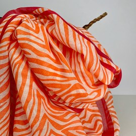 Orange And Fuchsia Zebra Print Scarf