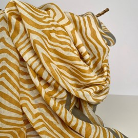 Mustard And Grey Zebra Print Scarf