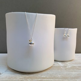 Personalised Sterling Silver And Gold Apple Charm Necklace