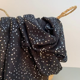 Black Scarf With Metallic Dots