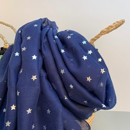 Navy Blue Scarf With Metallic Stars