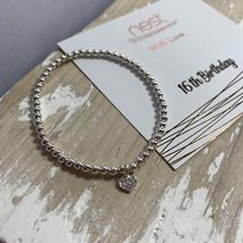 '16th Birthday' Beaded Charm Bracelet