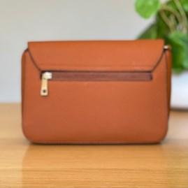 Fold Over Cross Body Bag in Brown