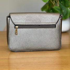 Fold Over Cross Body Bag in Silver Grey