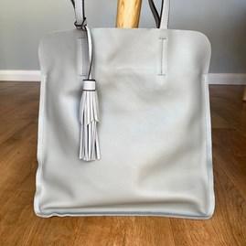 Shoulder Bag With Tassel in Grey