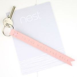 'To The Moon And Back' Pink Leather Keyring