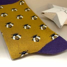 Men's Bamboo Honey Bees Socks in Yellow