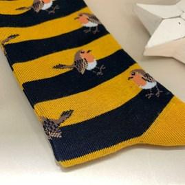 Men's Bamboo Robins & Stripes Socks in Mustard