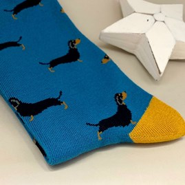 Men's Bamboo Little Sausage Dogs Socks in Teal