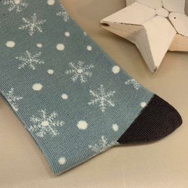 Bamboo Snowflakes Socks in Duck Egg