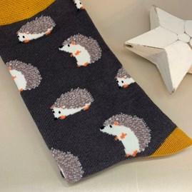 Men's Bamboo Hedgehog Socks in Grey