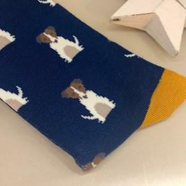 Men's Bamboo Little Jack Russells Socks in Navy
