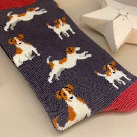 Men's Bamboo Jack Russell Socks in Grey