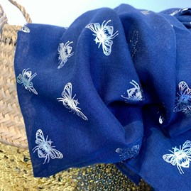 Silver Metallic Bees Scarf in Navy Blue