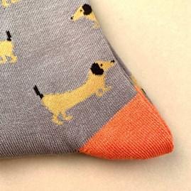 Bamboo Sausage Dog Socks In Grey
