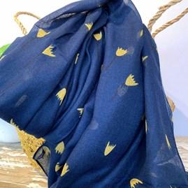 Tulip Doodle Scarf in Blue